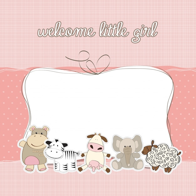 Carte de douche bébé fille Vecteur Premium