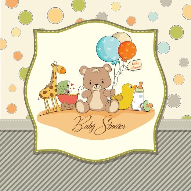 Carte de douche de bébé avec des jouets Vecteur Premium