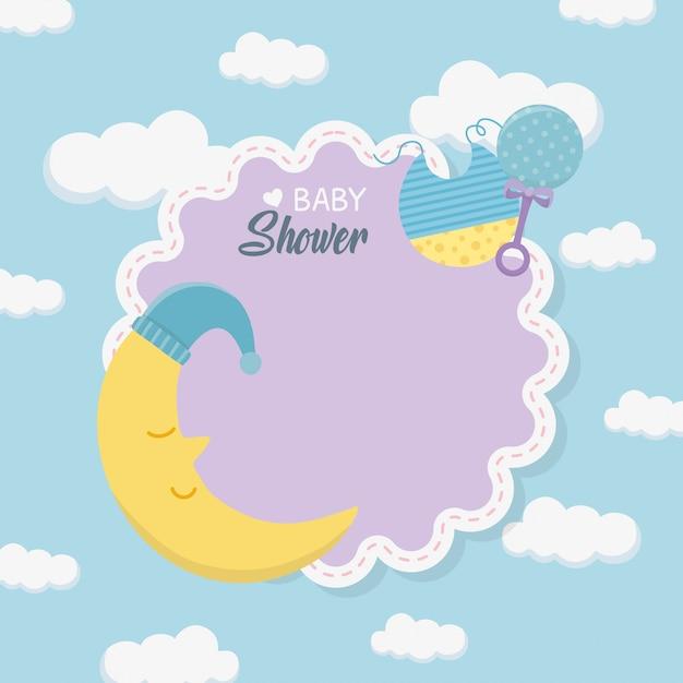 Carte de douche de bébé avec lune endormie Vecteur gratuit