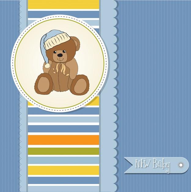 Carte de douche de bébé avec ours en peluche endormi Vecteur Premium