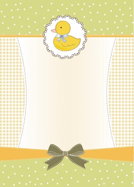 Carte De Douche De Bébé Avec Petit Canard Vecteur Premium