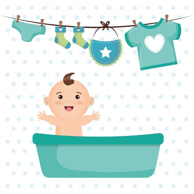 Carte De Douche De Bébé Avec Petit Garçon Vecteur gratuit