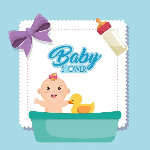 Carte de douche de bébé avec petite fille Vecteur gratuit
