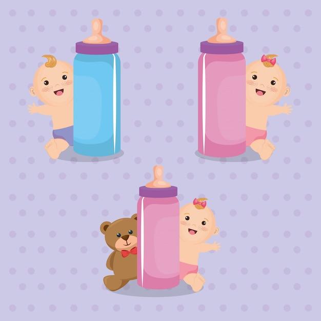 Carte de douche de bébé avec petits enfants Vecteur gratuit