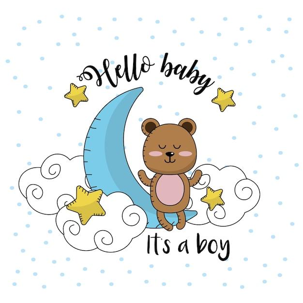 Carte de douche de bébé pour accueillir un garçon Vecteur Premium
