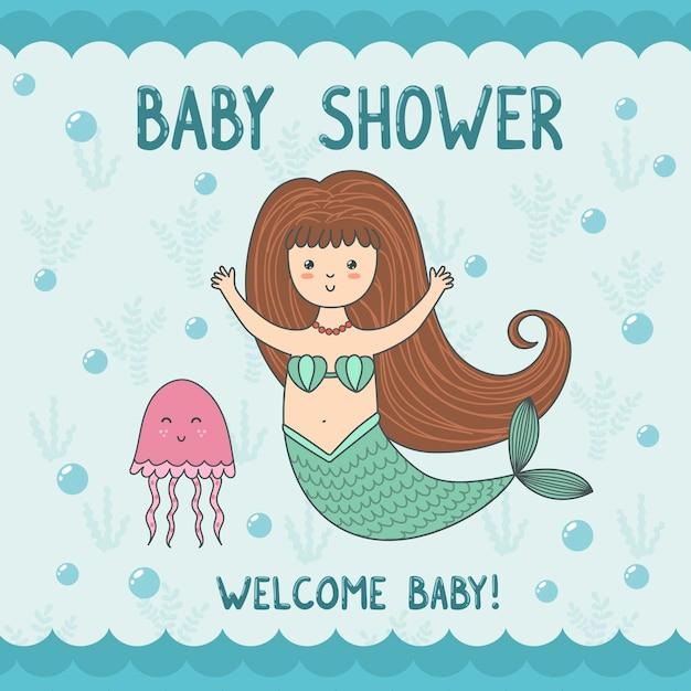 Carte de douche de bébé avec sirène et méduses mignonnes. Vecteur Premium