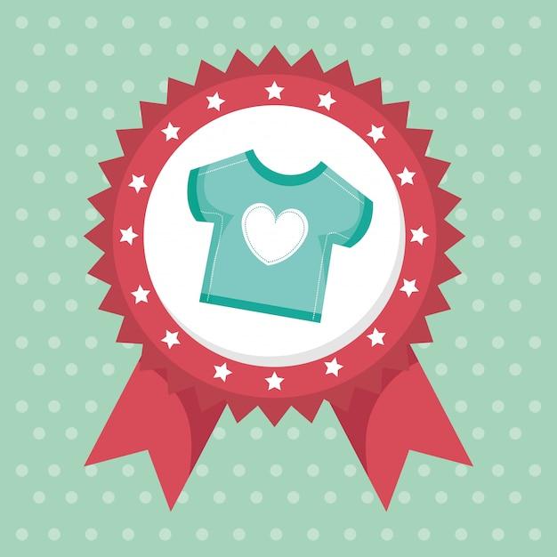 Carte de douche de bébé avec des vêtements Vecteur gratuit