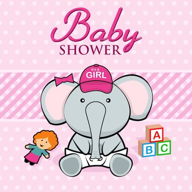Carte de douche de bébé Vecteur Premium