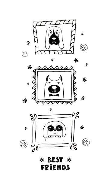 Carte drôle avec les chiens de visage mignons et lettrage meilleurs amis! Vecteur Premium