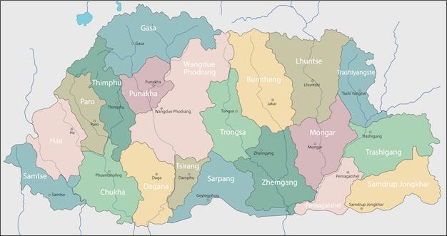 Carte du bhoutan Vecteur Premium