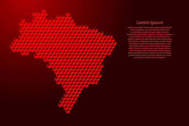 Carte Du Brésil De Concept Abstrait Isométrique De Cubes Rouges 3d Vecteur Premium