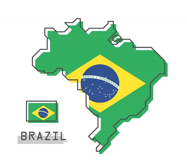 Carte du brésil et drapeau Vecteur Premium