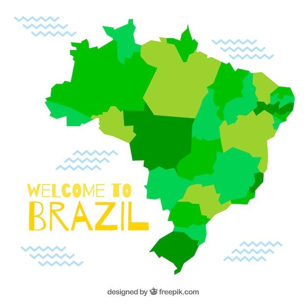 Carte Du Brésil Vecteur gratuit