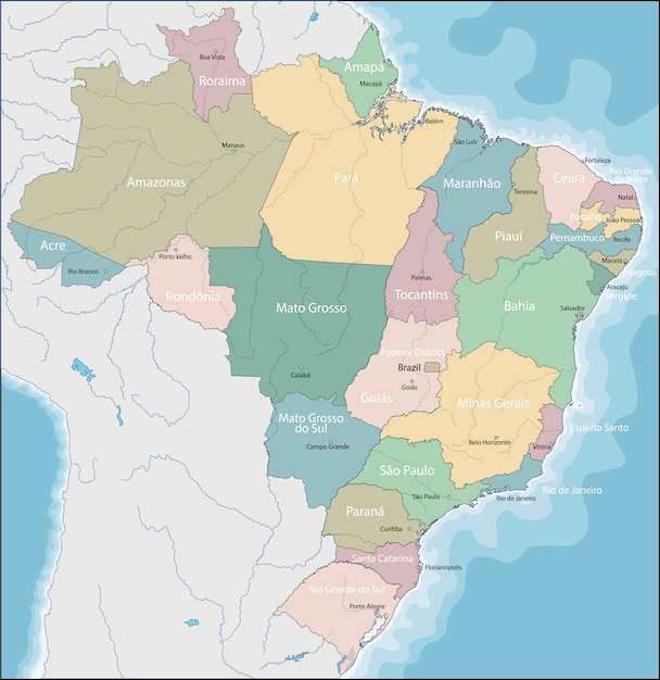 Carte du brésil Vecteur Premium