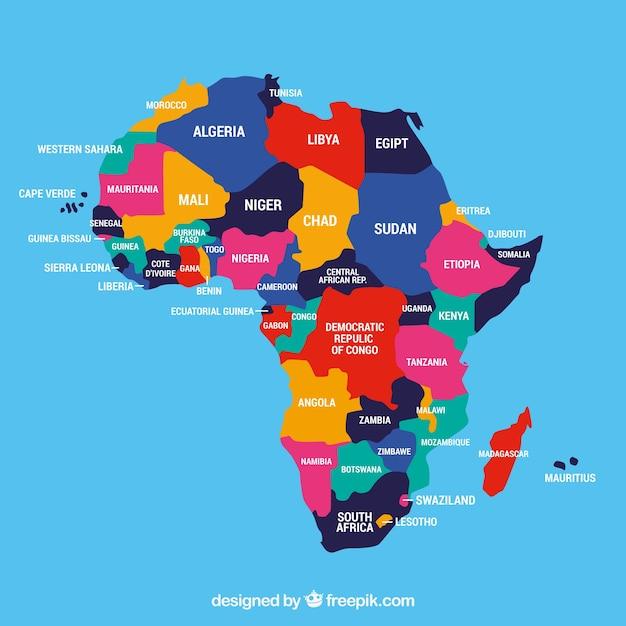 Carte du continent africain avec différentes couleurs Vecteur gratuit
