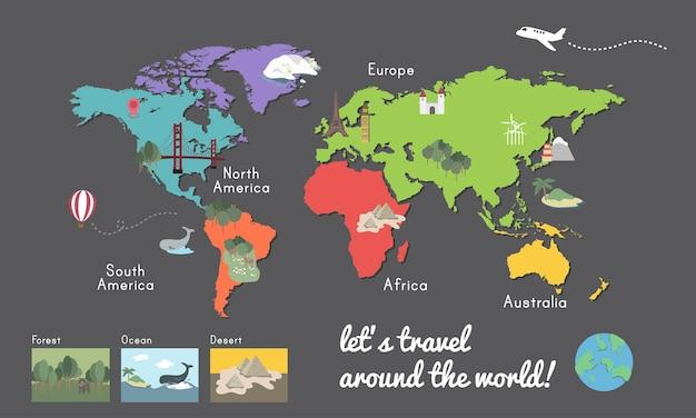 Carte du continent du monde emplacement illustration graphique Vecteur gratuit