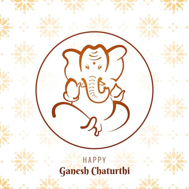 Carte Du Festival Ganesh Chaturthi Vecteur gratuit