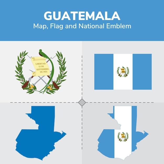 Carte du guatemala, drapeau et emblème national Vecteur Premium