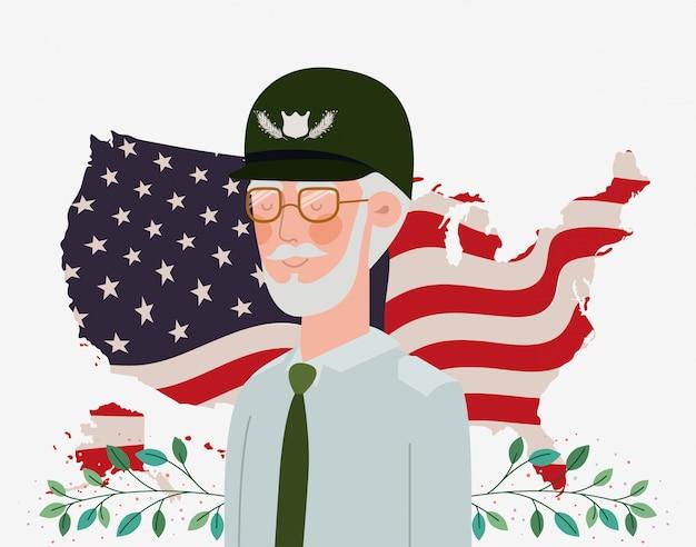 Carte du jour commémoratif avec le vétéran et le drapeau américain Vecteur Premium