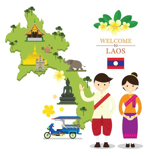 Carte Du Laos Et Points De Repère Avec Des Personnes En Vêtements Traditionnels Vecteur Premium