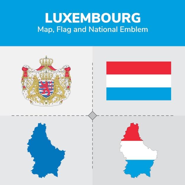 Carte du luxembourg, drapeau et emblème national Vecteur Premium