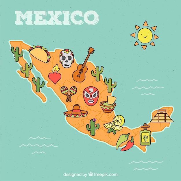 Carte du mexique dessinés à la main Vecteur gratuit