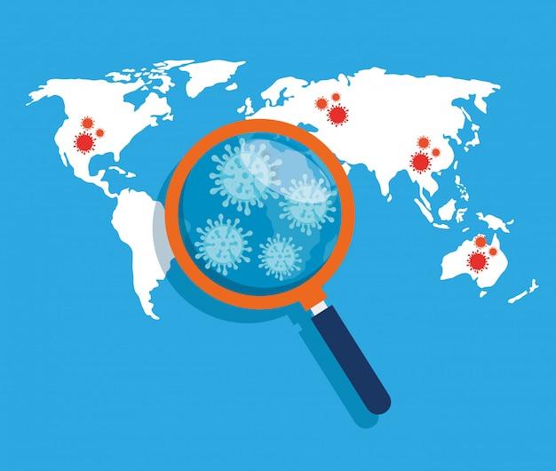 Carte Du Monde Avec 19 Emplacements Covid Et Loupe Vecteur gratuit
