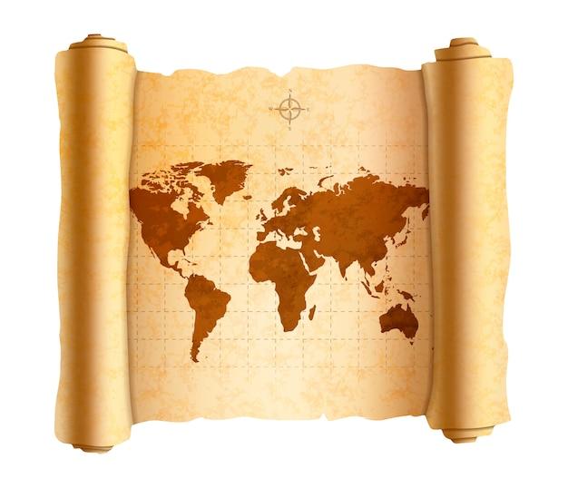 Carte Du Monde Antique Réaliste Sur Le Vieux Rouleau Texturé Sur Blanc Vecteur Premium