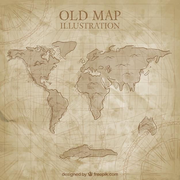 Carte du monde antique Vecteur gratuit