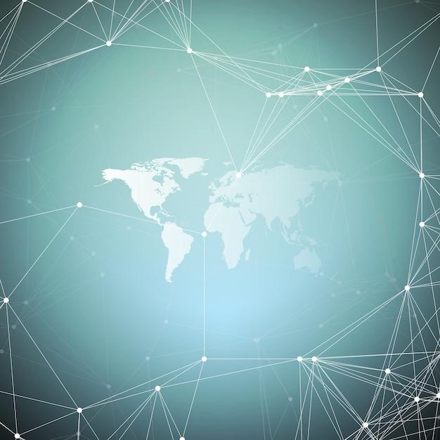 Carte du monde blanc avec motif de chimie Vecteur Premium