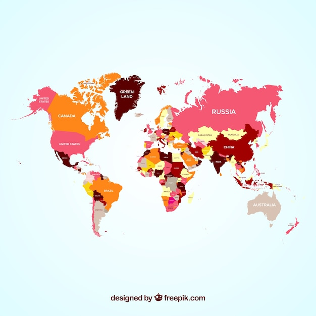 Carte du monde coloré Vecteur gratuit