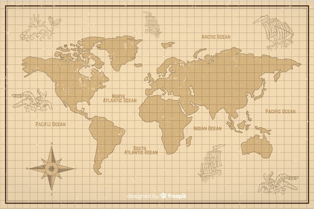 Carte Du Monde Dans Un Style Numérique Vintage Vecteur gratuit