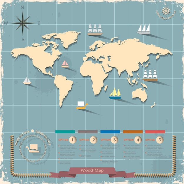 Carte du monde dans un style rétro Vecteur Premium