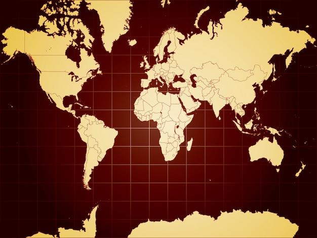 Carte du monde détaillée entièrement modifiable Vecteur Premium