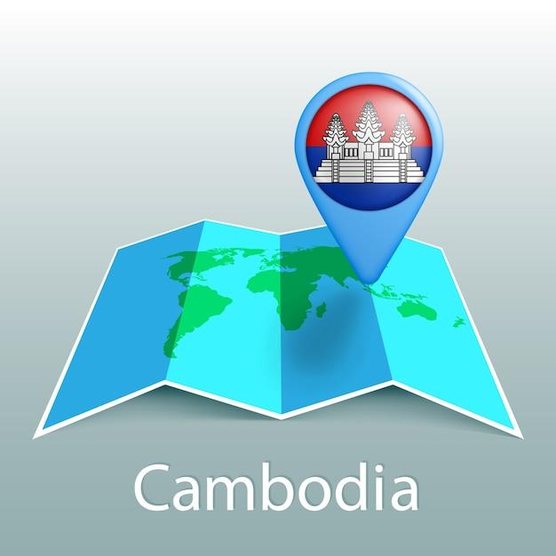 Carte Du Monde Du Drapeau Du Cambodge En Broche Avec Le Nom Du Pays Sur Fond Gris Vecteur Premium