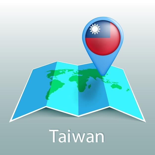 Carte Du Monde Du Drapeau De Taiwan En Broche Avec Le Nom Du Pays Sur Fond Gris Vecteur Premium