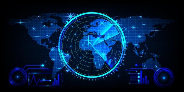 Carte Du Monde Avec Un écran Radar, Radar Bleu Numérique ...