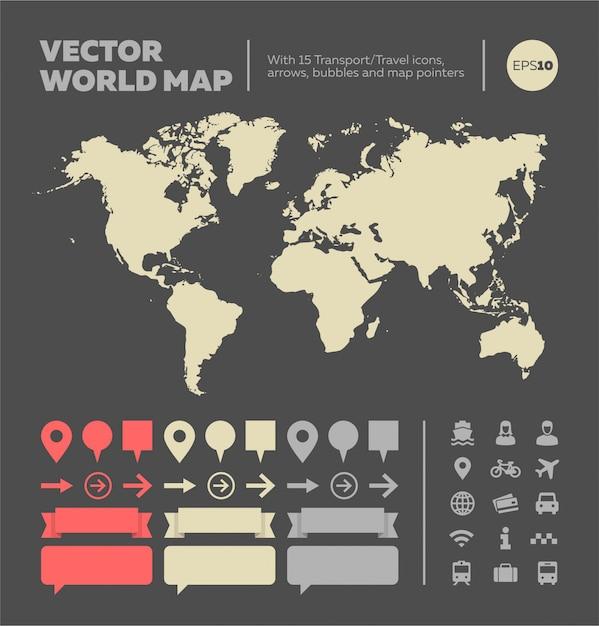 Carte du monde avec des éléments infographiques Vecteur Premium
