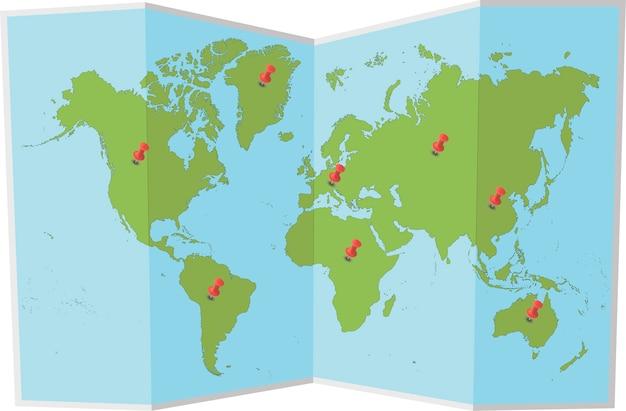 Carte Du Monde Avec Des épingles Vecteur Premium
