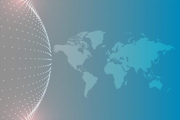 Carte du monde avec fond de particules circulaires Vecteur gratuit