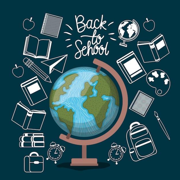 Carte du monde et fournitures de rentrée scolaire Vecteur gratuit