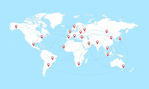 Carte Du Monde Avec Les Frontières Des Pays Et Les Pointeurs De Localisation Rouges. Vecteur Premium