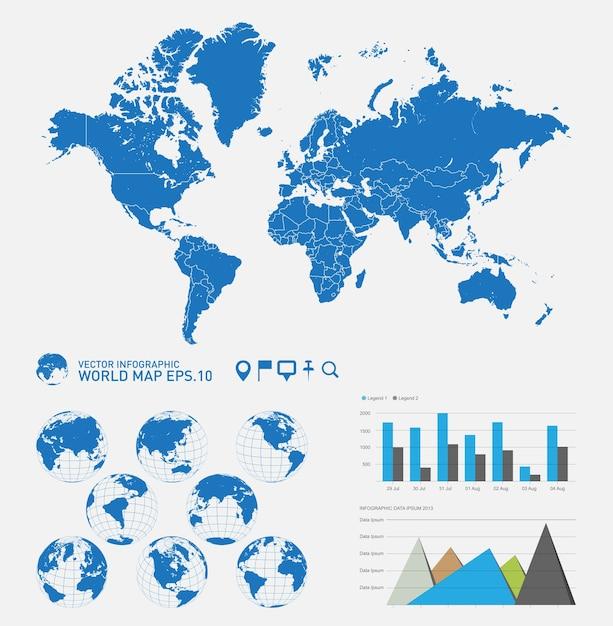Carte du monde avec des globes terrestres Vecteur Premium