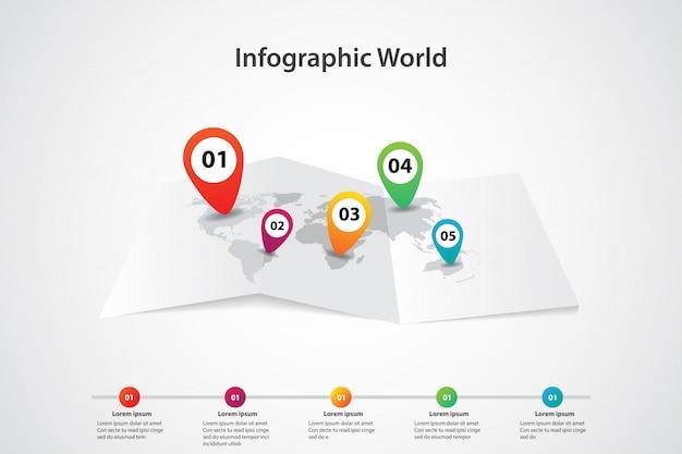 Carte du monde infographique, position du plan d'information sur la communication de transport Vecteur Premium