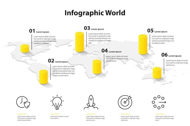 Carte du monde modèle infographie, position du plan d'information de communication de transport Vecteur Premium