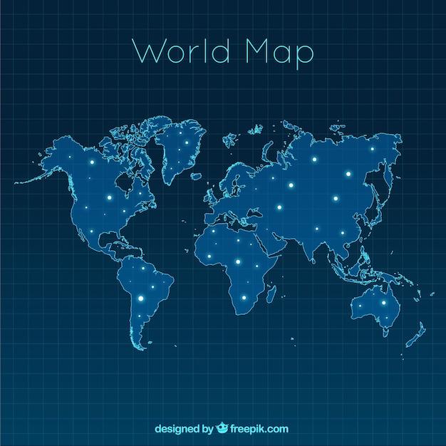 Carte du monde moderne avec points lumineux Vecteur gratuit