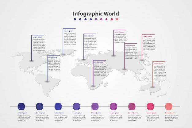 Carte du monde pays infographie, drapeaux du monde international. Vecteur Premium
