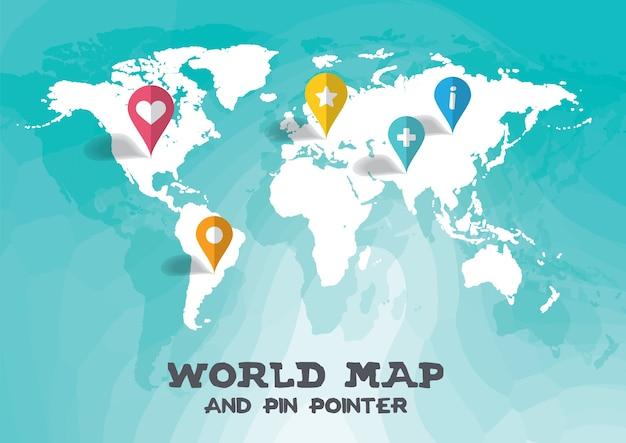Carte Du Monde Et Pin Pointeur Illustration Vectorielle Fond Vecteur Premium