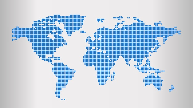 Carte du monde en pointillé bleu Vecteur Premium