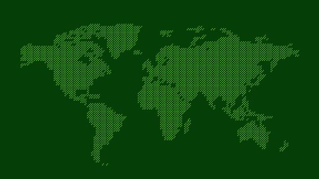 Carte du monde en pointillé vert Vecteur Premium